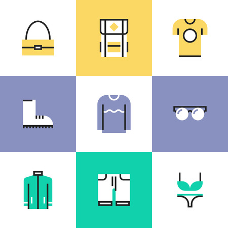 t short: Flat line icons of stylish everyday clothing and accessories like t-shirt, boots, sweater, hoodie, bag and backpack. Infographic icons vector concept.