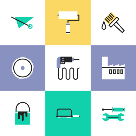 repairing: Flat line icons of construction instruments, engineering tools, industry equipments for building, repairing and painting. Infographic icons set pictogram vector concept. Illustration