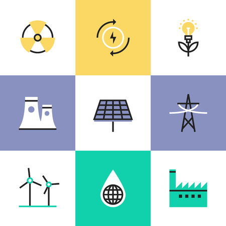 eco power: Flat line icons of construction instruments, engineering tools, industry equipments for building, repairing and painting. Infographic icons set pictogram vector concept. Illustration