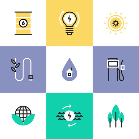 alternative energy source: Flat line icons of construction instruments, engineering tools, industry equipments for building, repairing and painting. Infographic icons set pictogram vector concept. Illustration