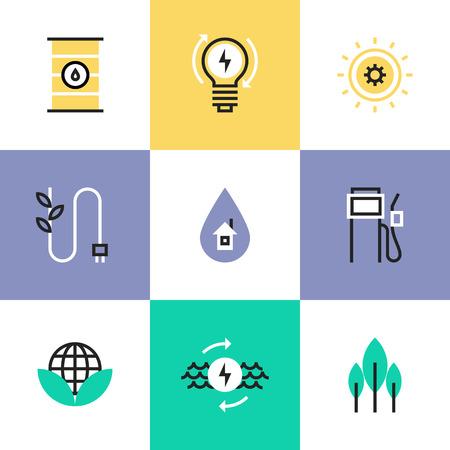electricidad: Iconos de líneas planas de los instrumentos de construcción, herramientas de ingeniería, equipos industriales para la construcción, reparación y pintura. Iconos Infografía establecen concepto pictograma vector.