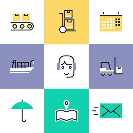 warehousing: Flat line icons of construction instruments, engineering tools, industry equipments for building, repairing and painting. Infographic icons set pictogram vector concept. Illustration