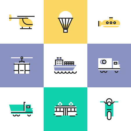sea freight: Flat line icons of construction instruments, engineering tools, industry equipments for building, repairing and painting. Infographic icons set pictogram vector concept. Illustration