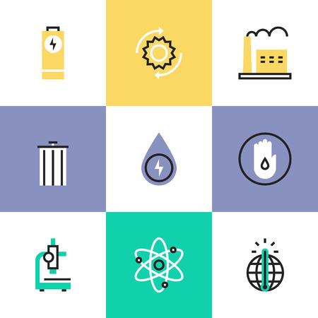 消費: 世界の省エネ、地球の平らな線アイコン地球温暖化、リサイクル bin、明確な水の消費量、発電所の生産。インフォ グラフィック アイコン セット、ロゴ抽象的なデザイン ピクトグラム ベクトルの概念。