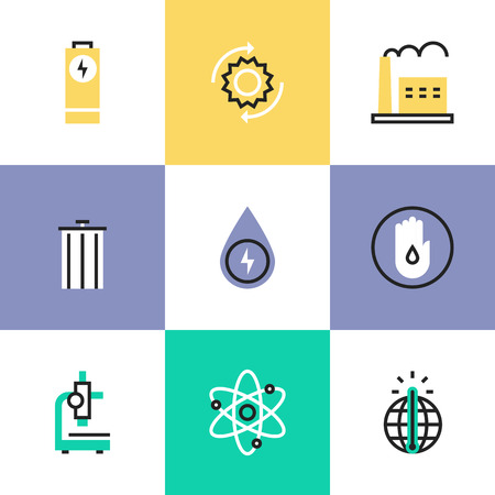 Flat line icons of world energy conservation, global warming, recycle bin, clear water consumption, power plant production. Infographic icons set, logo abstract design pictogram vector concept.