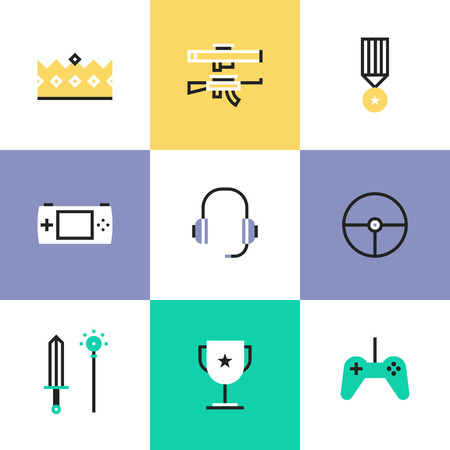 Flat line icons of construction instruments, engineering tools, industry equipments for building, repairing and painting. Infographic icons set pictogram vector concept. Vector