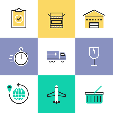 checklist: Flat line icons of construction instruments, engineering tools, industry equipments for building, repairing and painting. Infographic icons set pictogram vector concept. Illustration