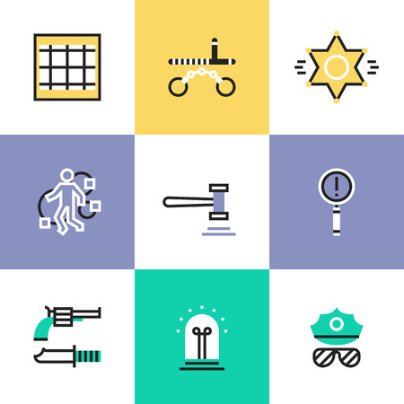 crime scene: Flat line icons of construction instruments, engineering tools, industry equipments for building, repairing and painting. Infographic icons set pictogram vector concept. Illustration