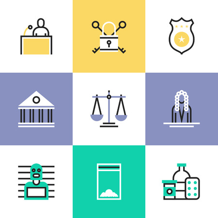 criminal justice: Flat line icons of construction instruments, engineering tools, industry equipments for building, repairing and painting. Infographic icons set pictogram vector concept. Illustration