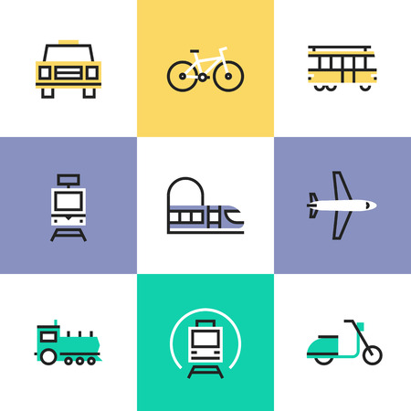 transport icon: Flat line icons of construction instruments, engineering tools, industry equipments for building, repairing and painting. Infographic icons set pictogram vector concept. Illustration