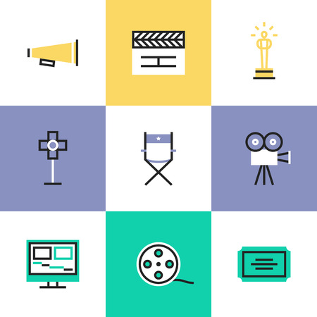 showreel: Flat line icons of video production and media post-production, award winning film making, movie director tools and objects. Infographic icons set, logo abstract design pictogram vector concept.