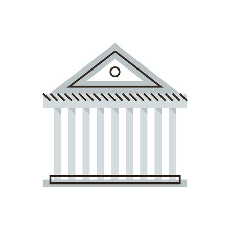 senate: Thin line icon with flat design element of courthouse, state court, financial system, classical building of bank, banking business, government agency. Modern style icon vector illustration concept. Illustration