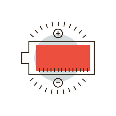 electric charge: Thin line icon with flat design element of full charge, battery charger, electric accumulator, charging process, longlife energy, power indicator. Modern style icon vector illustration concept.