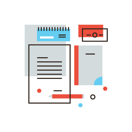 brand name: Thin line icon with flat design element of business brand, branding identity, stationery tools, office accessories, company visual style. Modern style icon vector illustration concept.