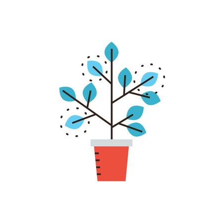 Thin line icon with flat design element of grow business, sprouting seedling, growth process, prospect of future, expansion of company, potted plant. Modern style icon vector illustration concept. Vector Illustration