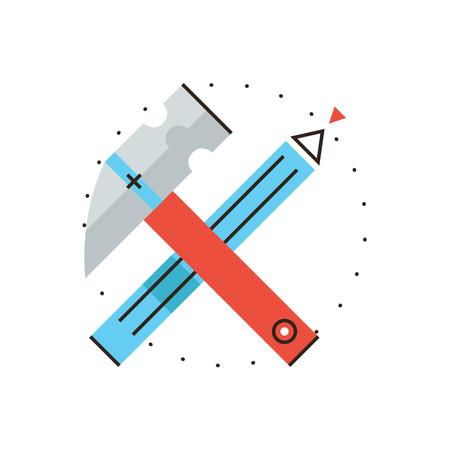 construct: Dunne lijn icoon met platte design element van de bouw gereedschappen, techniek ambacht, het ontwerpen van gebouwen, professionele apparatuur, bouwen diy, bouwen huis. Moderne stijl pictogram vector illustratie concept. Stock Illustratie