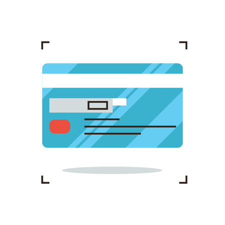 remittance: Thin line icon with flat design element of credit card payment finance system, financial banking, payroll facilities, electronic money transfer. Modern style icon vector illustration concept.