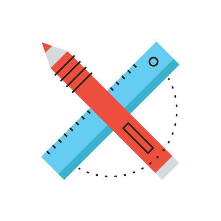 creador: Icono de la línea delgada con elemento plano de diseño de herramientas de diseño, equipos de diseño, dibujo proyecto, dibujando objeto, los instrumentos de trabajo. Icono de estilo moderno concepto de ilustración vectorial.