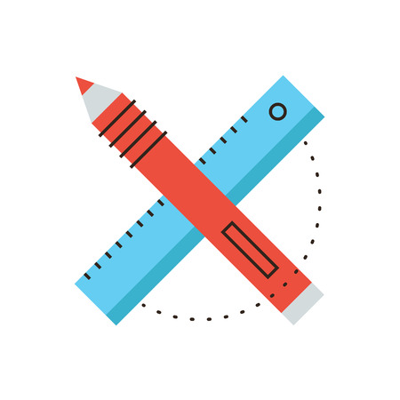 Thin line icon with flat design element of design tools, designer equipment, drawing project, sketching object, working instruments. Modern style icon vector illustration concept.