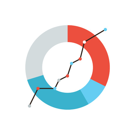 Thin line icon with flat design element of business chart, success corporation stats, corporate data, market analysis, pie graph, development prospects. Modern style icon vector illustration concept.