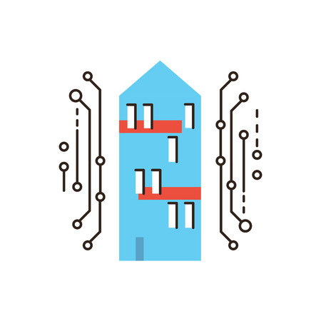 office automation: Thin line icon with flat design element of smart home, digital house, internet connection, future innovations, housing communication. Modern style logo vector illustration concept.