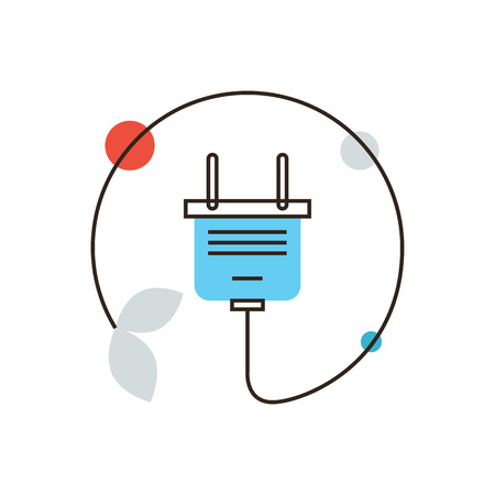 electric outlet: Thin line icon with flat design element of energy saving, electric power, ecology safety, power cord plug, efficiency electricity, save resources. Modern style icon vector illustration concept.