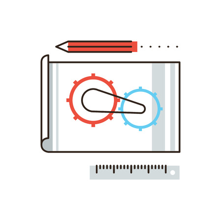 gearing: Thin line icon with flat design element of engineering construction planning, cogwheel processing, technical blueprint sketching and development. Modern style icon vector illustration concept. Illustration