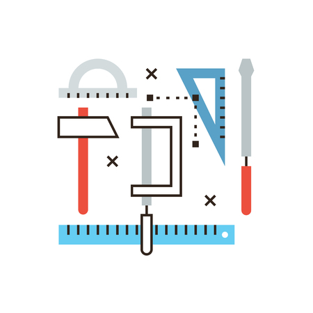 Thin line icon with flat design element of engineering tools, prototyping design, technical equipment, working instruments, construct drawing. Modern style icon vector illustration concept.