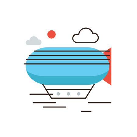exploratory: Thin line icon with flat design element of horizon discoveries, inspiring dream, exploratory mission, traveling by airship, opening unknown. Modern style icon vector illustration concept.