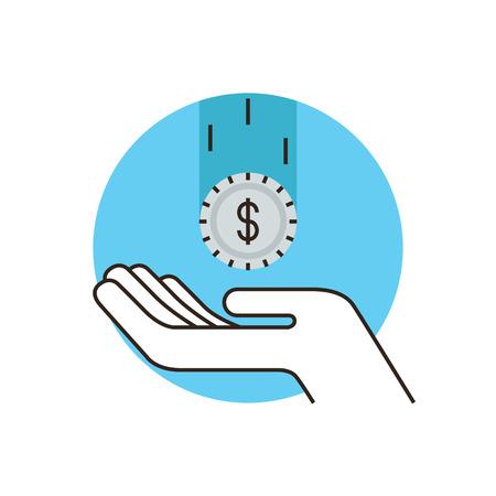 資金調達は、給与税のフラットなデザイン要素と細い線アイコン受信預金、現金収入の資本化の利益は、資産の保護します。モダンなスタイルのア  イラスト・ベクター素材