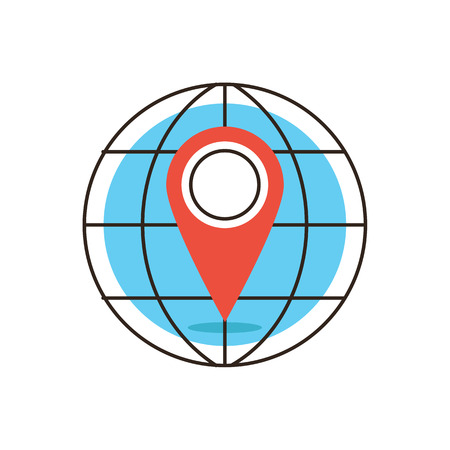 coordinates: Thin line icon with flat design element of global positioning system, pin destination, point on map, exact coordinates, direction pointer. Modern style icon vector illustration concept. Illustration
