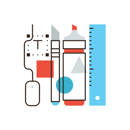 creator: Thin line icon with flat design element of design tools, painting supplies, equipment for drawing, creative thinking, stationery designer accessories. Modern style icon vector illustration concept.