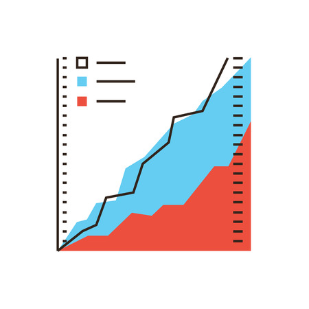 statistics icon: Thin line icon with flat design element of business graph, chart analysis, information data, analyst statistics, growth indicator, success market stats. Modern style icon vector illustration concept.