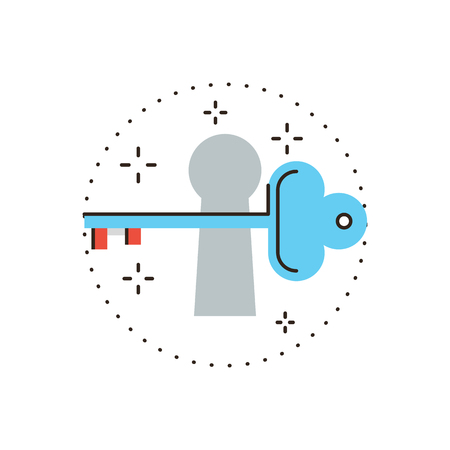 secrecy: Thin line icon with flat design element of keeping secrets, open door, opportunity unlock, key to info, protection of information, free access. Modern style icon vector illustration concept.