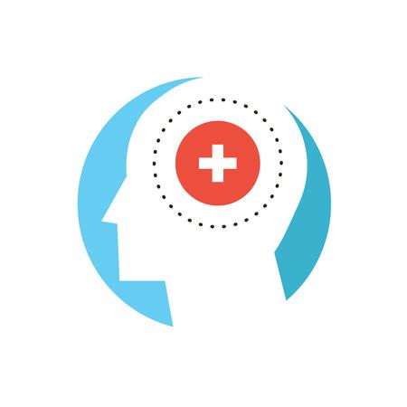 mente: Icono de la línea delgada con elemento plano de diseño de la salud mental, la demencia humana, la psicología del paciente, el trastorno de la mente, cura psique, clínica loco. Icono de estilo moderno concepto de ilustración vectorial.