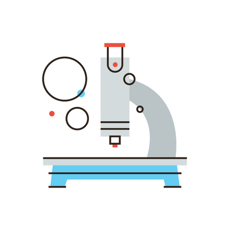 Thin line icon with flat design element of medical microscope, chemical analysis, scientific discovery, research new, laboratory equipment. Modern style icon vector illustration concept.