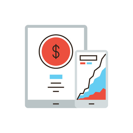 preservation: Thin line icon with flat design element of mobile banking application, online payment, preservation money, bank statistics, remote control. Modern style icon vector illustration concept.