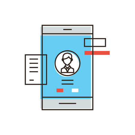 Thin line icon with flat design element of mobile user interface, smartphone UI experience, personal profile management, login UX and registration form. Modern style icon vector illustration concept.