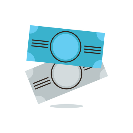 liquidity: Thin line icon with flat design element of paper notes, working capital, money banknotes, cash coupons, equivalent exchange, liquidity funds. Modern style icon vector illustration concept. Illustration