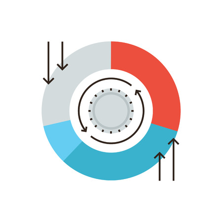 accumulation: Thin line icon with flat design element of chart cash flows, financial analytics, investment strategy funds, medium of circulation, capital accumulation. Modern style icon vector illustration concept.