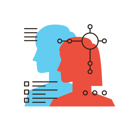 Icono de la línea delgada con elemento de diseño plano de los datos personales, perfiles de personas, los trabajadores de recursos, calidad empresarial, la contratación de profesionales, empleados de búsqueda. Icono de estilo moderno concepto de ilustración vectorial. Ilustración de vector