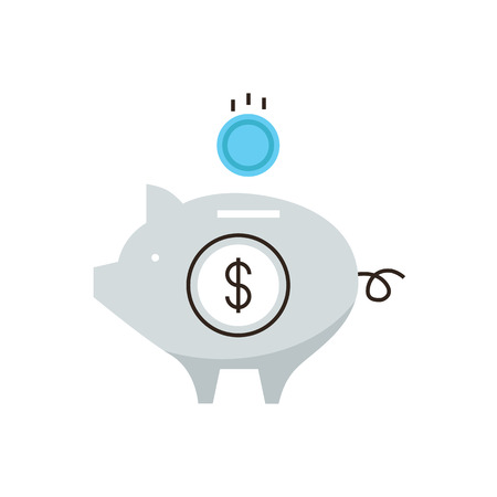 Thin line icon with flat design element of piggy bank, capital accumulation, money saving, financial management, banking reliability. Modern style logo vector illustration concept.