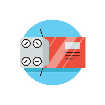 blisters: Icona linea sottile con TV elemento di design di compresse di imballaggio, la medicina farmacologica, antidolorifici, blister, pillole aspirina, farmaci, farmacia. Icona di stile moderno concetto illustrazione vettoriale. Vettoriali