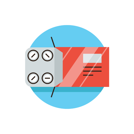 doses: Thin line icon with flat design element of packing tablets, pharmacological medicine, painkillers, blister pack, pills aspirin, medical drugs, pharmacy. Modern style icon vector illustration concept. Illustration