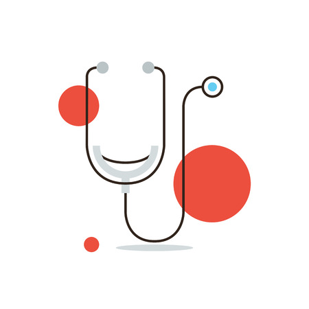 Thin line icon with flat design element of medical diagnostics, cardiology investigation, stethoscope, health care, human inspection, tool doctor. Modern style icon vector illustration concept. Vectores