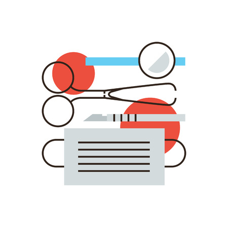 medical instruments: Thin line icon with flat design element of surgical instruments, medical clinic, equipment doctors, surgeon tool, patient treatment, sharp scalpel. Modern style icon vector illustration concept.