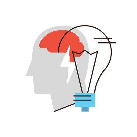pensando: Ícone da linha fina com elemento plano projeto de ideia de negócio, pensando pessoa, resolução de problemas, cérebro humano, metáfora ampola, solução achado. Ícone de estilo ilustração vetorial conceito moderno.