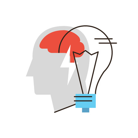 Icono de la línea delgada con elemento plano de diseño de idea de negocio, pensamiento, persona, resolución de problemas, el cerebro humano, bombilla metáfora, búsqueda de soluciones. Icono de estilo moderno concepto de ilustración vectorial.