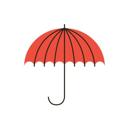 Dunne lijn icoon met platte design element van het bedrijfsleven stabiliteit, bescherming van de problemen, weersomstandigheden, financiële verzekeringen, de veiligheid van het bedrijf. Moderne stijl pictogram vector illustratie concept. Stock Illustratie