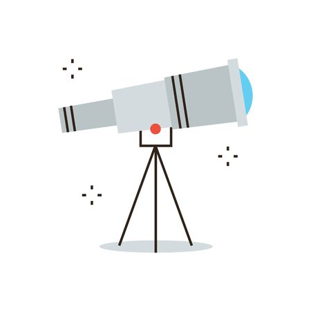 spyglass: Thin line icon with flat design element of space exploration, business vision, search ideas, looking for a new way, astronomical discovery. Modern style icon vector illustration concept.